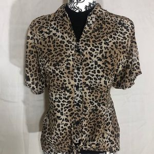 CHARLOTTE RUSSE Animal print button down- blouse.